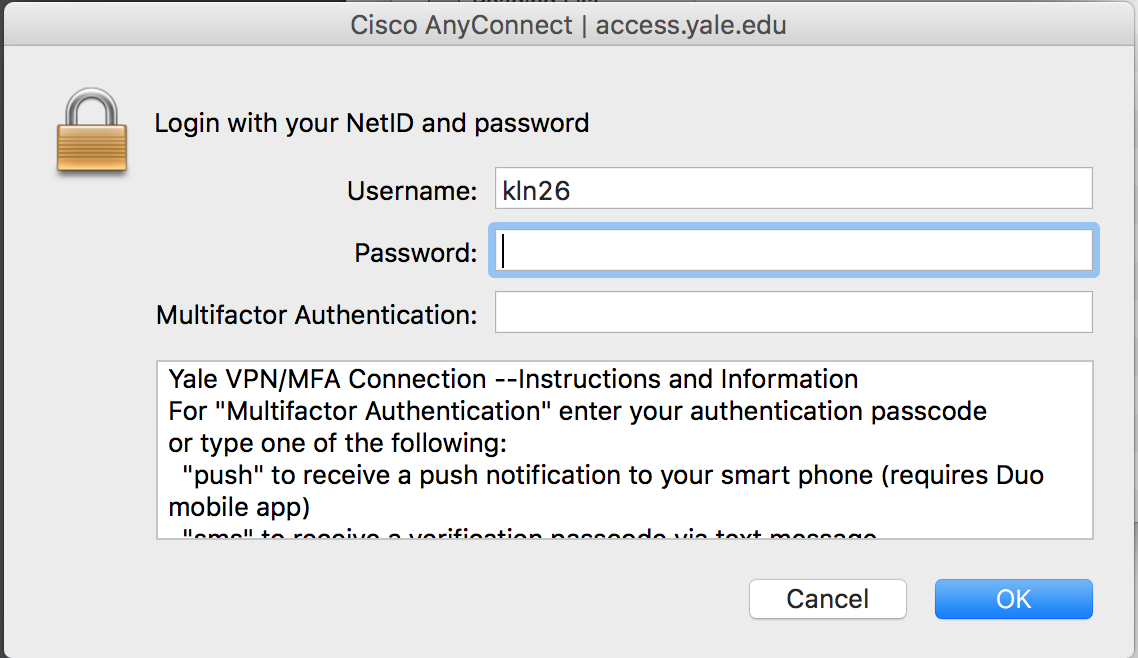 Access from Off Campus (VPN) - Yale Center for Research Computing
